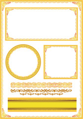 Wall Mural - gold photo frame floral vector for picture concept
