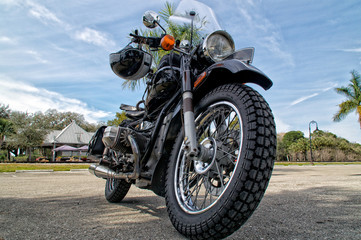 low angle view of vintage motorcycle