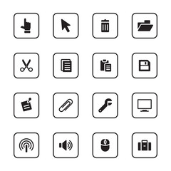 black flat computer and technology icon set with rounded rectangle frame for web design, user interface (UI), infographic and mobile application (apps)
