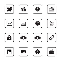 black flat finance and technology icon set with rounded rectangle frame for web design, user interface (UI), infographic and mobile application (apps)