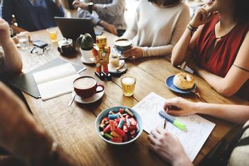 Diversity Friends Meeting Coffee Shop Brainstorming Concept