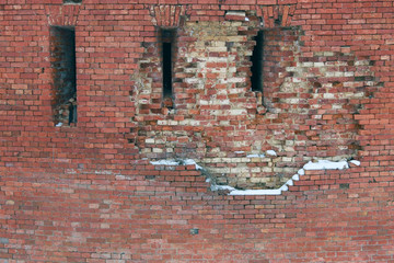 Фон красной кирпичной крепостной стены