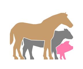 Vector farmers market icon. Colored farm animals.