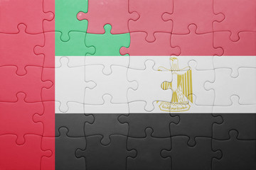 puzzle with the national flag of united arab emirates and egypt.