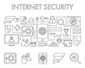Vector line design concept web banner for internet security.