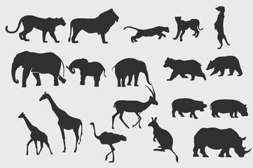 Safari animal silhouettes