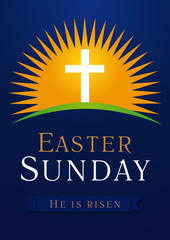 Easter Sunday calvary sun card. Template invitation to an Easter Sunday service in the form of rolled away from the tomb stone on a background of Calvary with cross and text