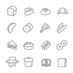 Lines icon set - bread and bakery vector illustration