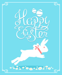 Vector illustration of Happy Easter greetings with white bunny w