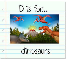 Flashcard letter D is for dinosaurs
