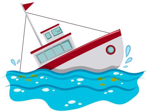 Fishing boat sinking in the ocean