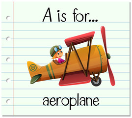 Flashcard letter A is for aeroplane