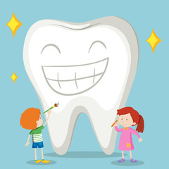 Children and clean tooth