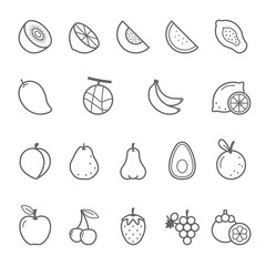 Lines icon set - fruit vector illustration