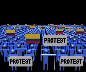 Crowd of people with protest signs and Colombian flags illustration