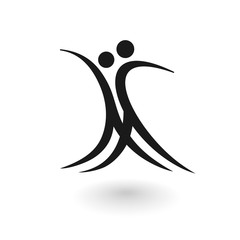 Stylized logo with a dancing male and female figure