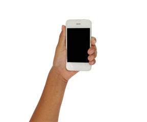 Girl hand holding Smartphone with blank screen on white backgrou