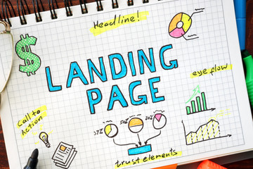 Landing page written in a notebook. SEO concept.
