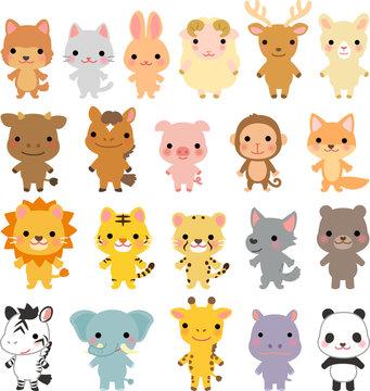 いろいろな動物のキャラクターのセット