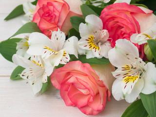 Salmon roses and white alstroemeria