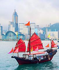 Foto op Aluminium Hong-Kong Hong Kong sailboat