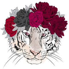 Vector tiger in a wreath of flowers. Hipster. Greeting card with a tiger.
