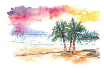 watercolour painting of sunset at tropical beach