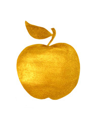 Golden hand-painted apple on white background