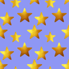 Seamless pattern with golden hand-painted stars on blue background