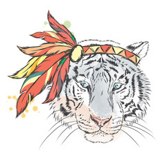 Tiger in Indian dressing. Tiger-Indian. Hipster. Tiger vector.