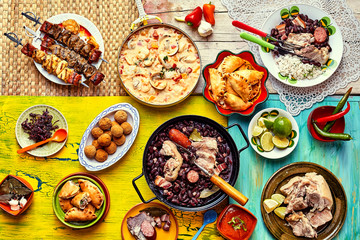 Freshly cooked feast of Brazilian dishes