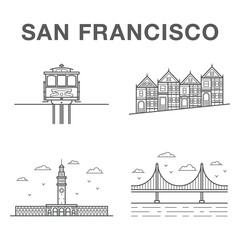 Big bundle of world famous San Francisco city landmarks: cable car, victorian houses, ferry building and golden gate bridge.