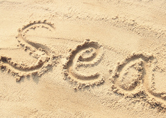 Sea - sand writing on the beach