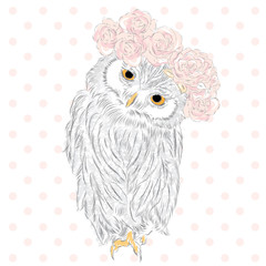 Cute owl in a vector . Owl in a wreath . Bird painted by hand. Vintage postcard.