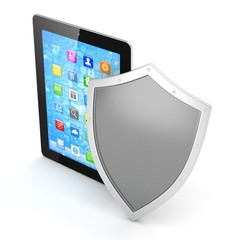 Tablet PC and shield on white device security concept
