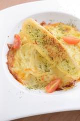 baked lasagna italian pasta with garlic bread