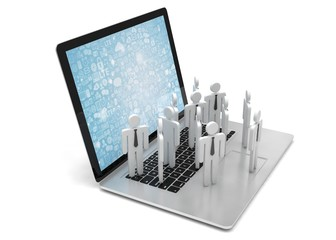 group of people figures on laptop, 3d render
