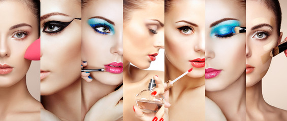 Beauty collage. Faces of women. Fashion photo. Makeup artist applies lipstick and eye shadow. Woman applying perfume Wall mural