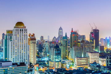 Bangkok Cityscape, Business district with high building at twilight time, Bangkok, Thailand