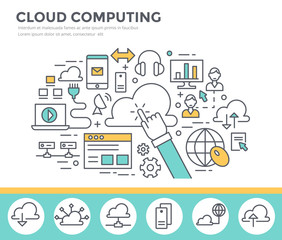 Cloud computing concept illustration, flat design, thin line style