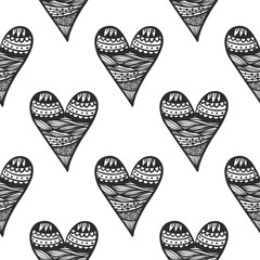 Seamless pattern with doodle heart. Coloring book page background
