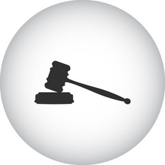 Judge hammer auction simple icon on round background