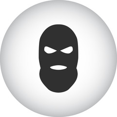 Balaclava terrorist military mask simple icon on round background