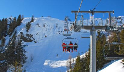 Ski lift. Winter mountain landscape.