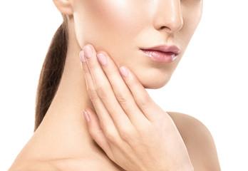 Woman shoulders lips hands fingers close-up portrait