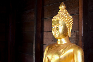 Golden Buddha portrait on duck wood room