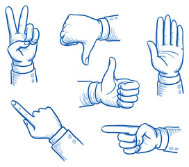 Set of business man hands showing different signs, success, pointing, like, dislike, stop. Hand drawn vector cartoon Illustration