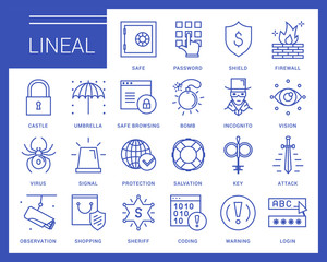 Line vector icons in a modern style. Secure connection and access to the Internet, access protection, virus threats, scan the system and data protection.