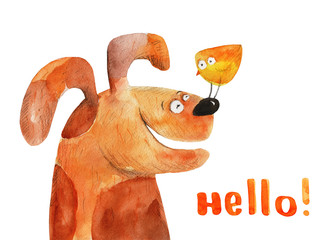 Dog with chick on his nose. Hello! Watercolor illustration