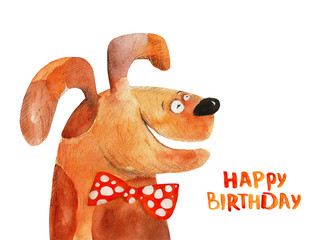 Dog in bow-tie. Happy birthday. Watercolor illustration